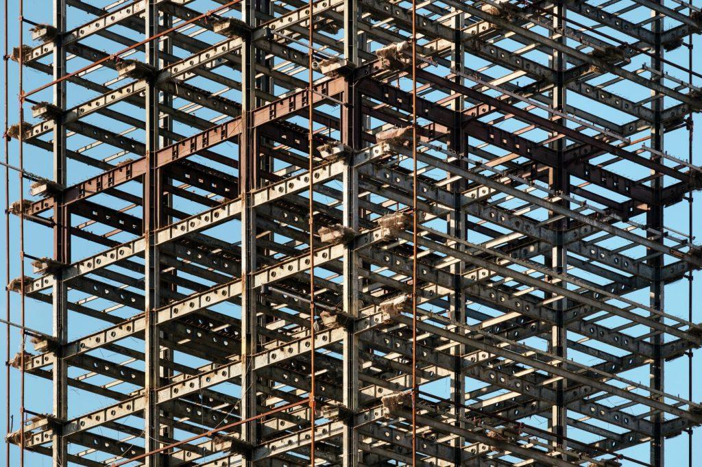 Steel girders, a building still under construction