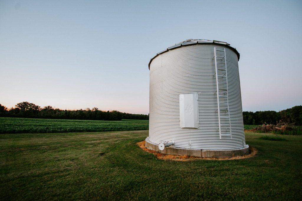 Grain Silo in middle of a field